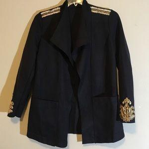 Sweaters - Utility Military Fringe Embellished Open Cardigan